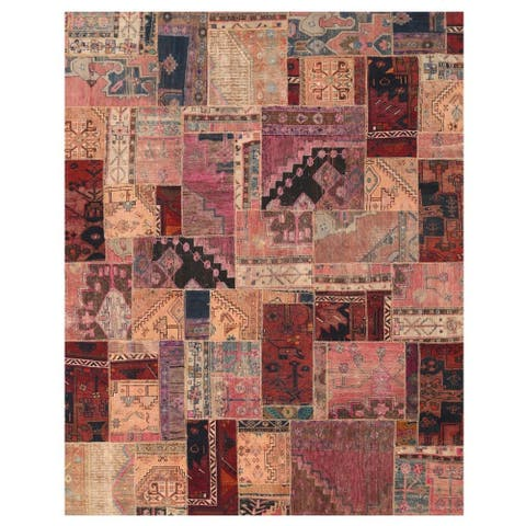 Handmade One-of-a-Kind Patchwork Wool Rug (Pakistan) - 7'10 x 9'11