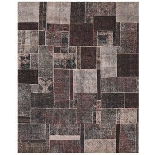 Herat Oriental Pak Persian Hand-knotted Patchwork Wool Rug (7'10 x 9'9)
