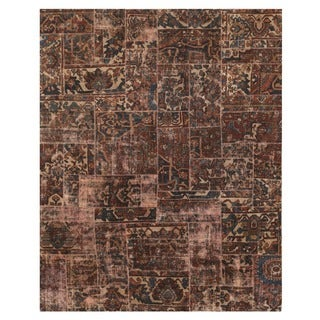 Herat Oriental Pak Persian Hand-knotted Patchwork Wool Rug (7'9 x 9'9)