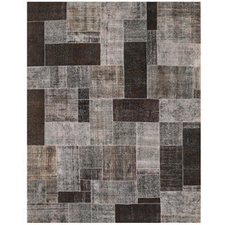 Herat Oriental Pak Persian Hand-knotted Patchwork Wool Rug (7'8 x 9'10)
