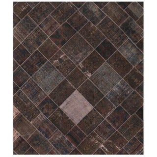 Herat Oriental Pak Persian Hand-knotted Patchwork Wool Rug (8'2 x 9'7)