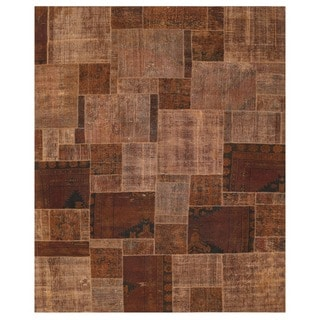 Herat Oriental Pak Persian Hand-knotted Patchwork Wool Rug (7'9 x 9'8)