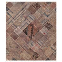 Herat Oriental Pak Persian Hand-knotted Patchwork Wool Rug (8'3 x 9'9) - 8'3 x 9'9