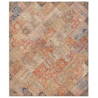Herat Oriental Pak Persian Hand-knotted Patchwork Wool Rug (8'3 x 9'8)