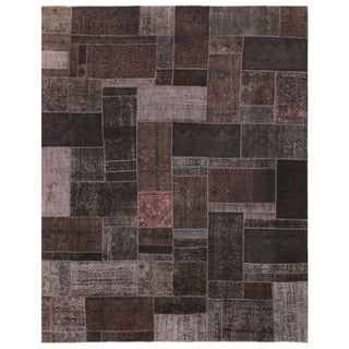 Herat Oriental Pak Persian Hand-knotted Patchwork Wool Rug (7'8 x 9'8)