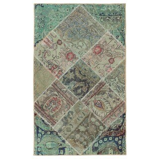Herat Oriental Pak Persian Hand-knotted Patchwork Wool Rug (3' x 5')
