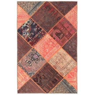 Herat Oriental Pak Persian Hand-knotted Patchwork Wool Rug (3'10 x 5'11)