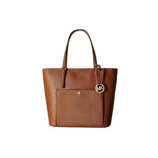 Michael Kors Jet Set Brown Leather Item Luggage Large Top Zip Pocket Tote Bag