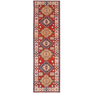 Ecarpet Gallery Hand-knotted Royal Kazak Brown, Ivory Wool Rug (2'9 x 9'9)