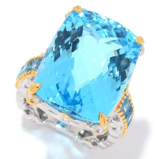 Michael Valitutti Palladium Silver Checkerboard Cut Swiss Blue Topaz Cocktail Ring