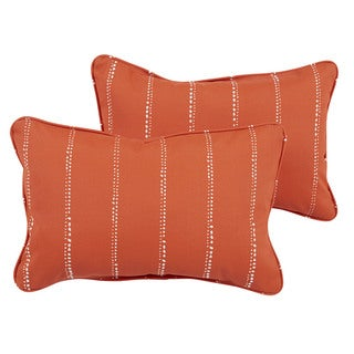 Caldwell II Orange Dotted Stripes Indoor/ Outdoor 13 x 20-inch Corded Pillow Set