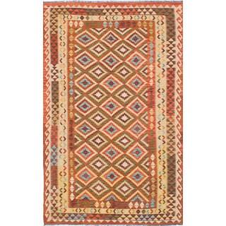 Ecarpet Gallery Hand-Woven Anatolian Kilim Red, Yellow Wool Kilim (5'3 x 8'5)