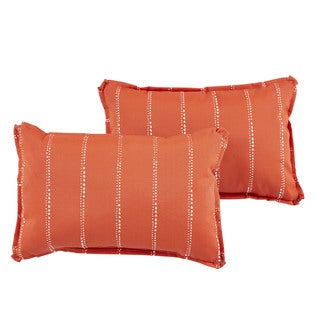 Caldwell II Orange Dotted Stripes Indoor/ Outdoor 13 x 20 inch Flange Pillow Set