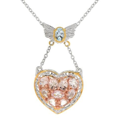 Gems en Vogue Palladium Silver Morganite & Aquamarine Angel Wing & Heart Pendant