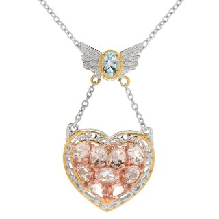 Michael Valitutti Palladium Silver Morganite & Aquamarine Angel Wing & Heart Pendant