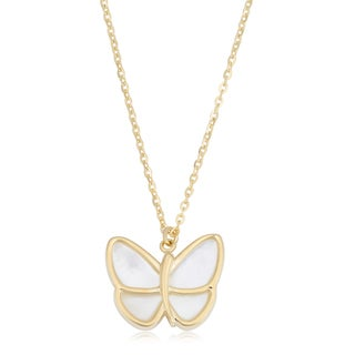 Fremada Italian 14k Yellow Gold and Mother of Pearl Butterfly Necklace (18 inches)