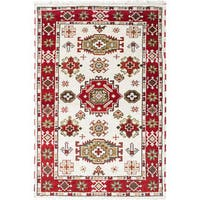 Ecarpet Gallery Hand-knotted Royal Kazak Ivory, Red Wool Rug (4'1 x 6'2)