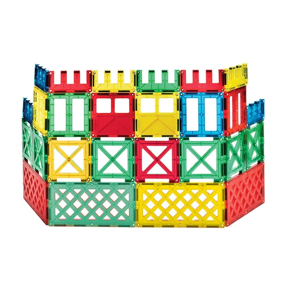 ShapeMags The Fence 48 Piece 3-D Magnetic Multicolored Plastic Tiles Set