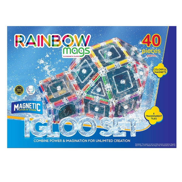 ShapeMags The Igloo Set Rainbow Mags 3D Magnetic Tiles (Case of 40)
