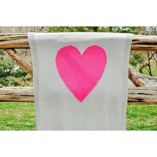 Pink Lemonade 'Baby Love' Grey Cotton Baby Blanket with Fuchsia Heart