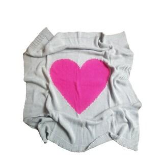 'Baby Love' Grey Cotton Baby Blanket with Fuchsia Heart