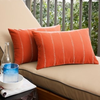 Caldwell II Orange Dotted Stripes Indoor/ Outdoor 13 x 20 inch Knife Edge Pillow Set
