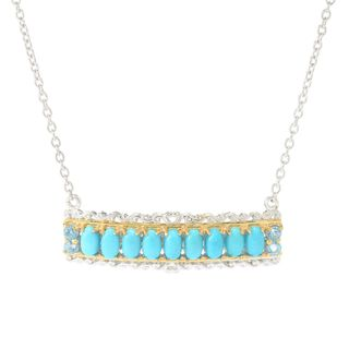 Michael Valitutti Palladium Silver Sleeping Beauty Turquoise & Swiss Blue Topaz Bar Necklace