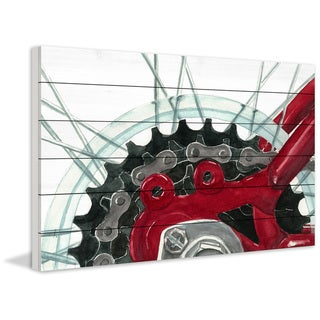 Marmont Hill - Handmade 18 Gears Painting Print on White Wood