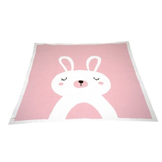 Bunny - Cotton Baby Blanket - Pink/White