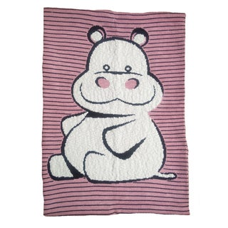 Pink Lemonade Pink/White Happy Hippo Cotton Baby Blanket