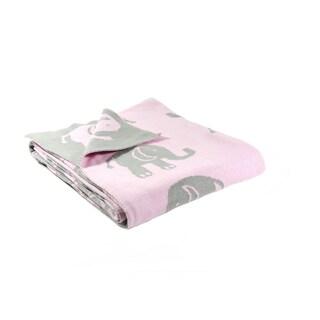 Elephant Love Cotton Baby Blanket - Reverisble