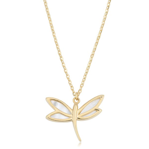 9a8ff1629 Shop Fremada Italian 14k Yellow Gold and Mother of Pearl Dragonfly Necklace  (18 inches) - On Sale - Free Shipping Today - Overstock - 14577830