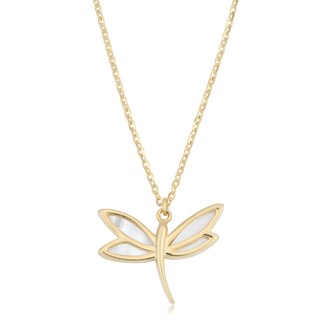 Fremada Italian 14k Yellow Gold and Mother of Pearl Dragonfly Necklace (18 inches)