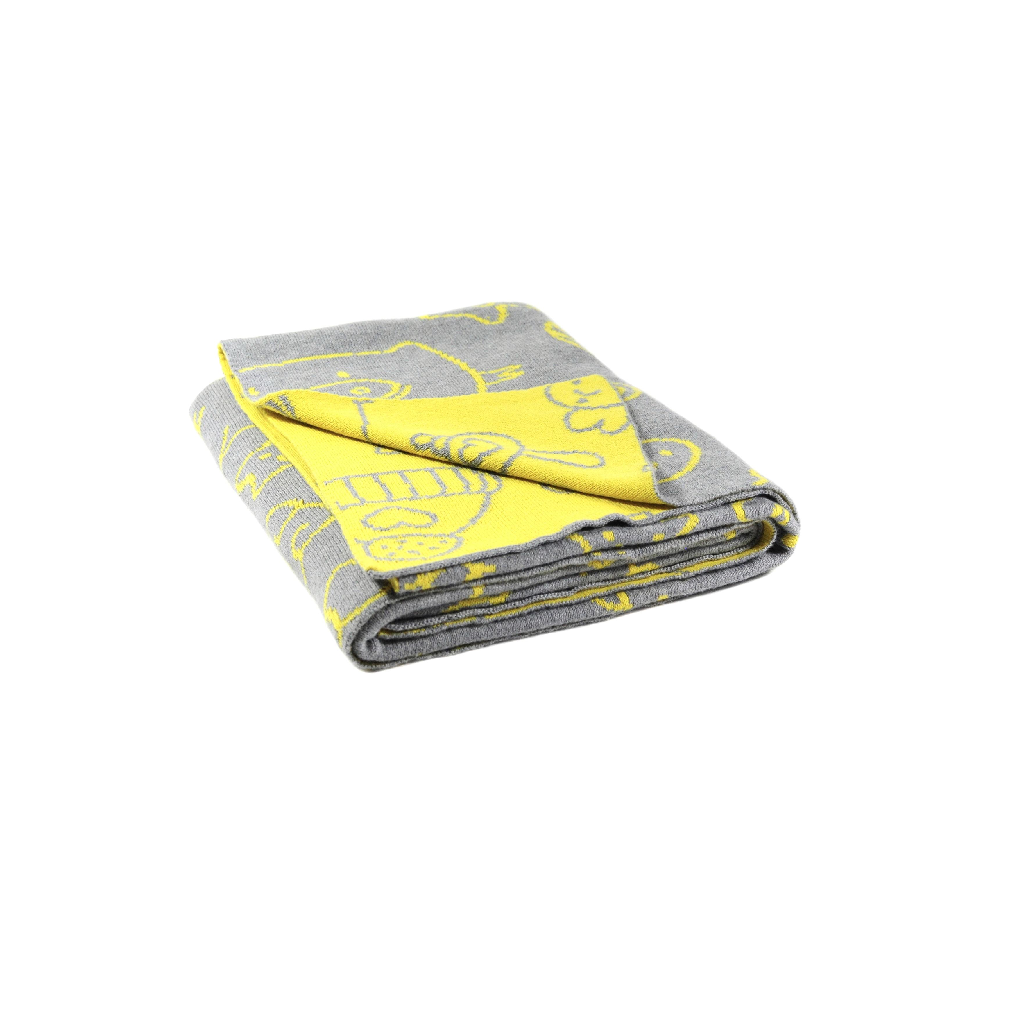 Pink Lemonade Grey Yellow Reversible Fun With Piggy Cotton Baby Blanket Overstock 14577850
