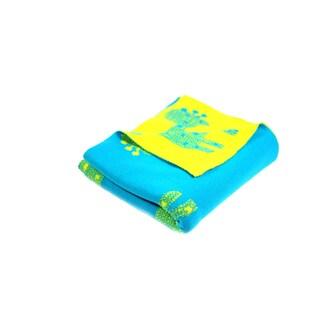 Pink Lemonade Green/Blue Reversible Giraffe Cotton Baby Blanket