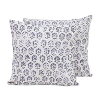 Pair of Cotton Cushion Covers, 'Stone Garden' (India)