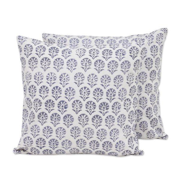 Handmade Pair of Cotton Cushion Covers, 'Stone Garden' (India)