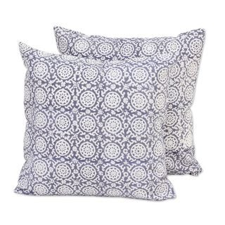Pair of Cotton Cushion Covers, 'Floral Temple' (India)
