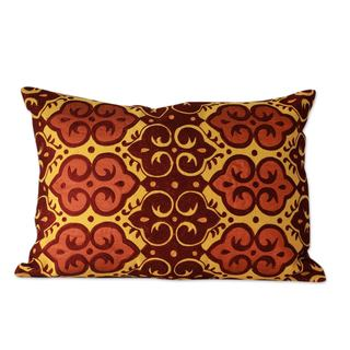 Handmade Pair of Embroidered Cushion Covers, 'Mustard Field' (India)