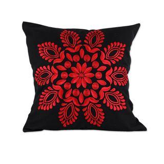 Handmade Pair of Cotton Cushion Covers, 'Crimson Splendor' (India)