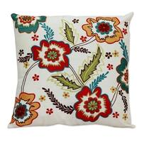 Handmade Cushion Cover, 'Floral Celebration' (India)
