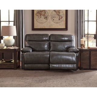 Signature Design By Ashley Graford Walnut Power Reclining Loveseat With Adjustable