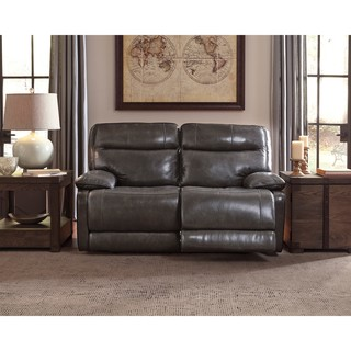 Signature Design By Ashley Palladum Grey Reclining Power Loveseat