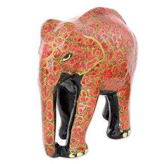Handmade Wood and Papier Mache Sculpture, 'Floral Charm' (India)