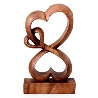 Handmade Wood Sculpture, 'Love Blossoms' (Indonesia)
