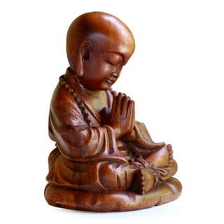 Handmade Wood Statue, 'Little Buddha Praying' (Indonesia)