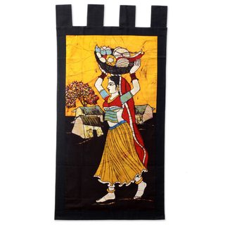 Handmade Cotton Batik Wall Hanging, 'Fresh Vegetable Vendor' (India)