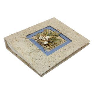 Handmade Saa Paper Photo Album, 'Blue Bouquet' (Thailand)