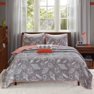 INK+IVY Kids Orbit Gray Cotton 4-piece Coverlet Set