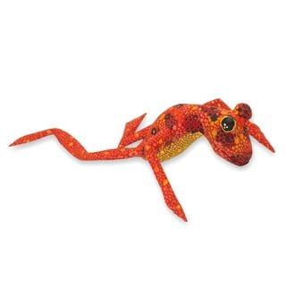 Handmade Wood Figurine, 'Orange Oaxaca Frog' (Mexico)